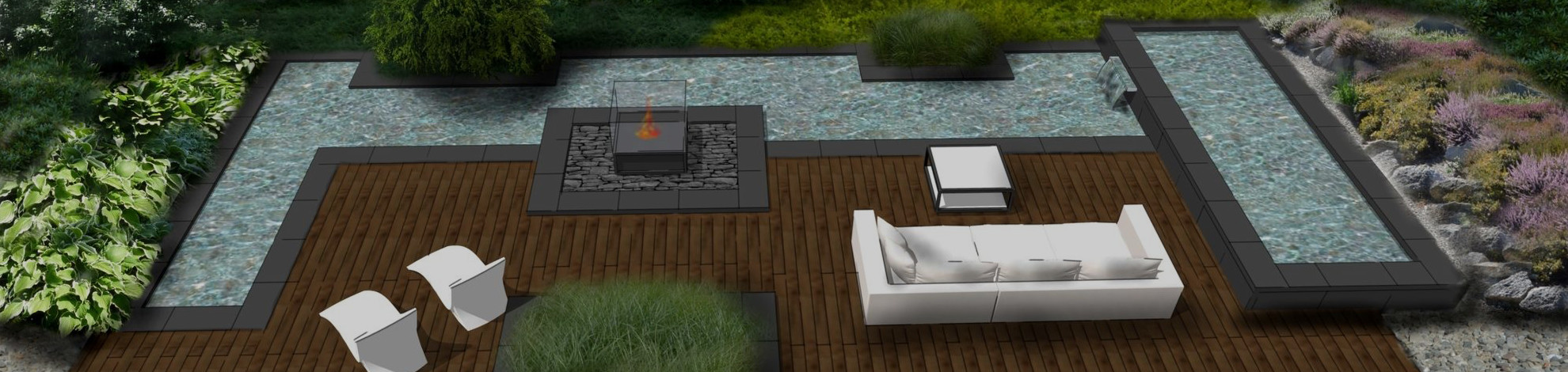 wizualizacja projektu nowoczesnego oczka wodnego w ogrodzie